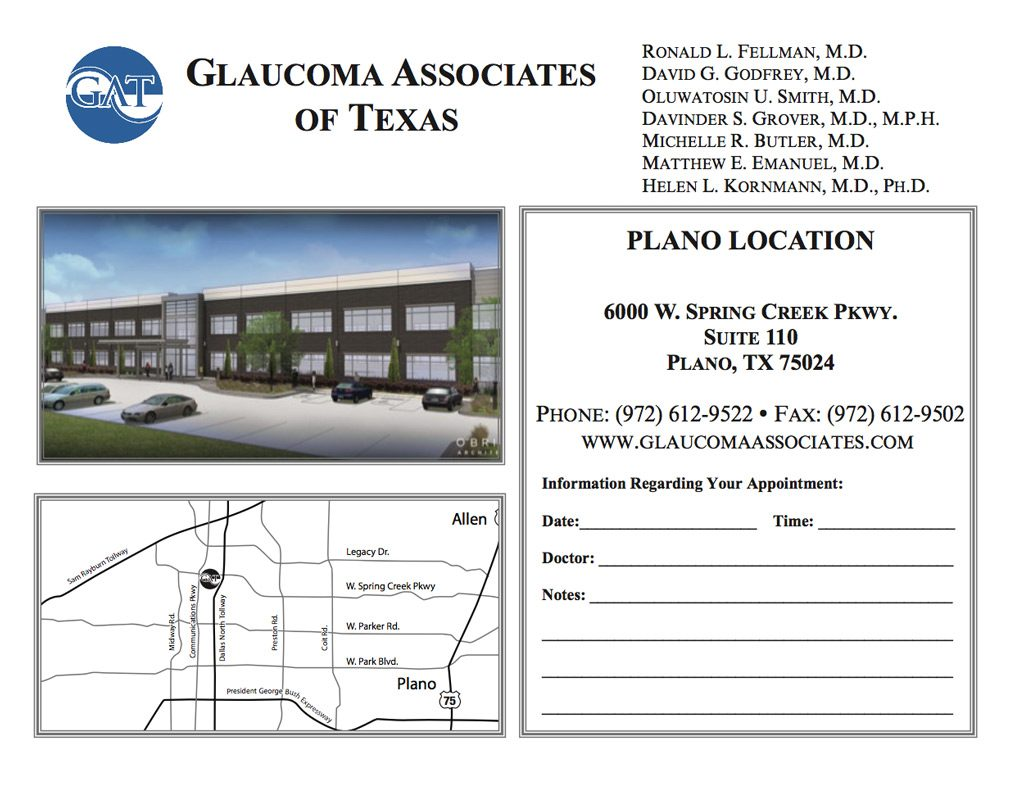Plano Office Appointment card